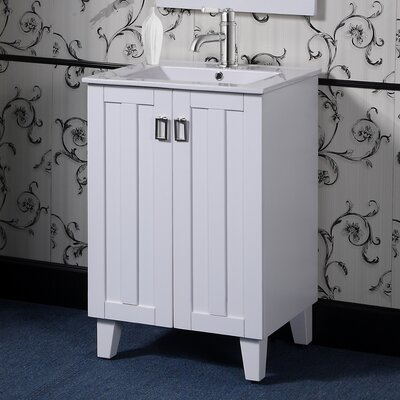 Larabee 24 Single Sink Bathroom Vanity Set Base Finish: White