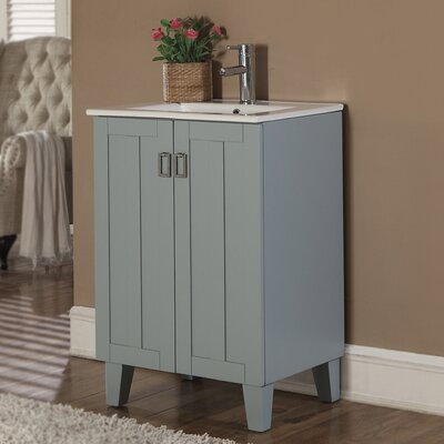 Larabee 24 Single Sink Bathroom Vanity Set Base Finish: Grey Blue