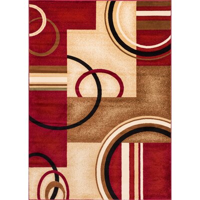 Daniel Red Arcs & Shapes Area Rug Rug Size: 53 x 73