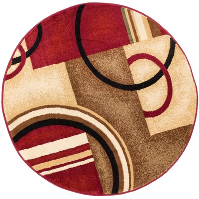 Daniel Red Arcs & Shapes Area Rug Rug Size: Round 53