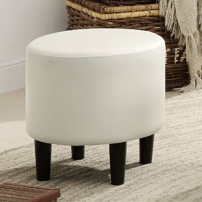Sheila Ryker Leather Padded Round Ottoman Upholstery: White