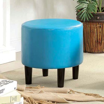 Sheila Ryker Leather Padded Round Ottoman Upholstery: Light Blue