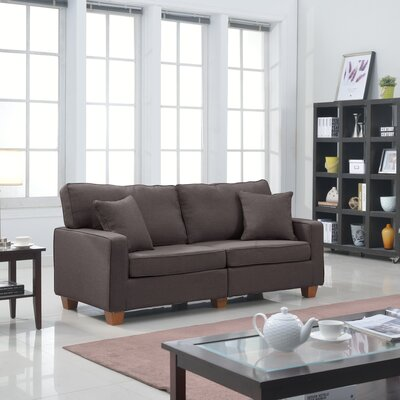 Dax Modern Loveseat Upholstery: Brown