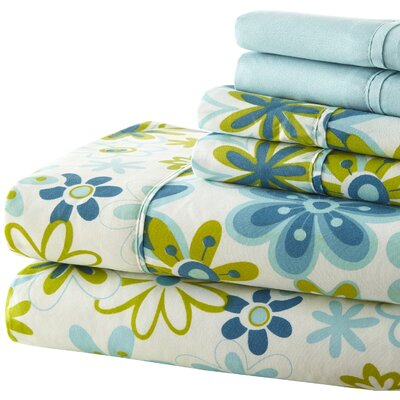 Randy 250 Thread Count Sheet Set in Blue & Green Size: Twin