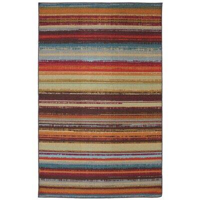 Rena Stripe Hand-Tufted Brown Indoor/Outdoor Area Rug Rug Size: 5 x 8