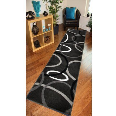 Browning Rings Charcoal Area Rug Rug Size: Runner 11 x 69