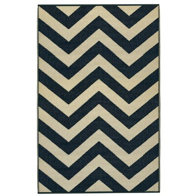 Reva Sand & Black Indoor/Outdoor Area Rug Rug Size: 4 x 6