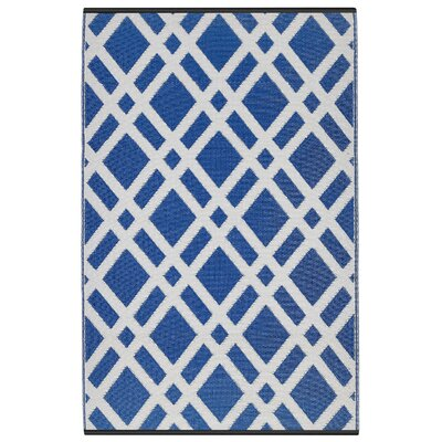 Reva Dazzling Blue & White Indoor/Outdoor Area Rug Rug Size: 4 x 6