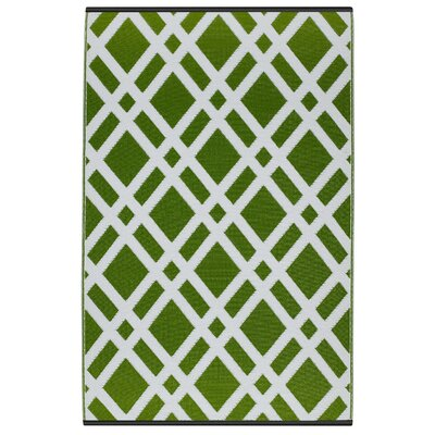 Reva Hand Woven Lime Green Indoor/Outdoor Area Rug Rug Size: 4 x 6