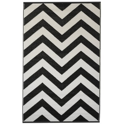 Reva Hand Woven Black Indoor/Outdoor Area Rug Rug Size: 5 x 8