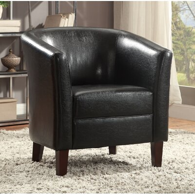 Rhoda Accent Leather Barrel Chair Color: Black