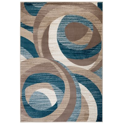 Rick Blue/Brown Area Rug Rug Size: 7'4