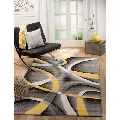 Rick Gray/Yellow Indoor Area Rug Rug Size: Runner 110 x 7