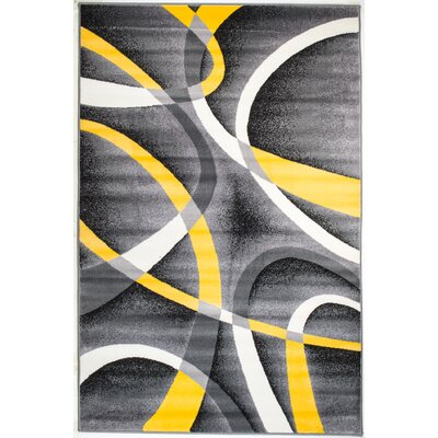 Rick Gray/Yellow Indoor Area Rug Rug Size: 38 x 5