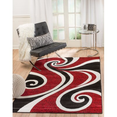 Rick Red/Black Indoor Area Rug Rug Size: 74 x 106