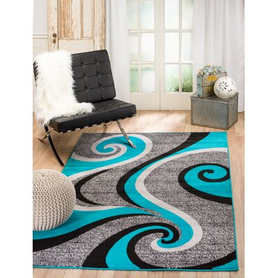 Rick Gray/Turquoise Indoor Area Rug Rug Size: 110 x 211