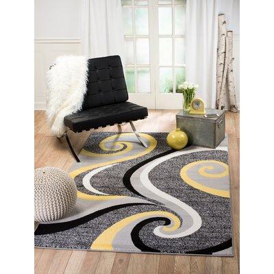 Rick Gray/Yellow Indoor Area Rug Rug Size: 38 x 5