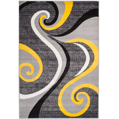 Rick Gray/Yellow Indoor Area Rug Rug Size: 74 x 106