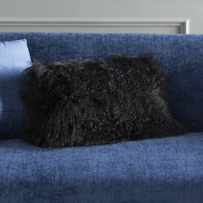 Becky Lamb Fur Lumbar Pillow Color: Black