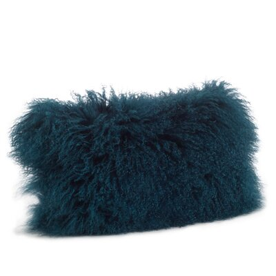 Becky Fur Lumbar Pillow Color: Teal