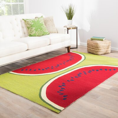 Smith Red & Green Conversational Indoor/Outdoor Area Rug Rug Size: 5 x 76