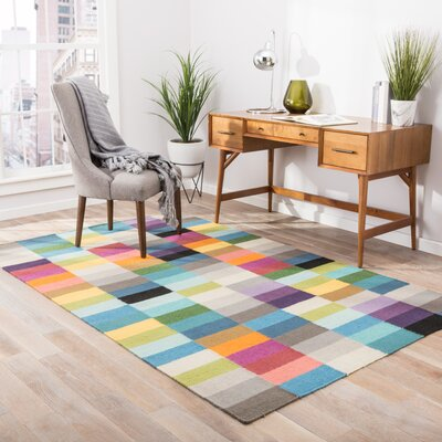 Garvin Wool Flat Weave Multicolor Area Rug Rug Size: 5 x 8