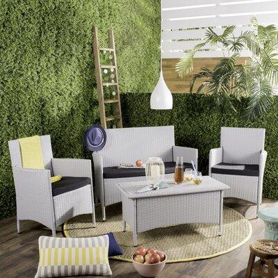 Skylar 4 Piece Deep Seating Group with Cushion Finish: Grey/Black