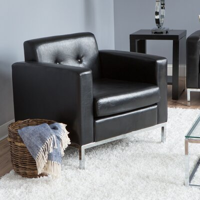 Newman Faux Leather Armchair Color: Black