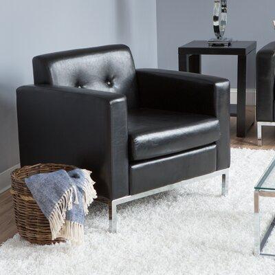Newman Faux Leather Arm Chair Color: Black