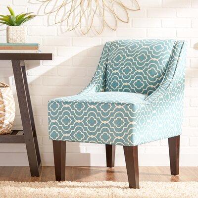 Trellis Swoop Armchair Upholstery: Teal Geometric