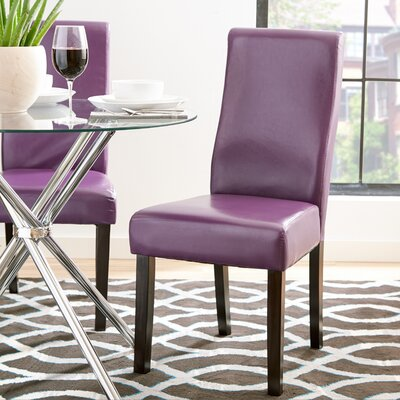 Jodie Curved-Back Dining Chair Upholstery: Boysenberry Faux Leather