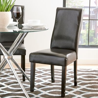 Jodie Curved-Back Dining Chair Upholstery: Dark brown Faux Leather