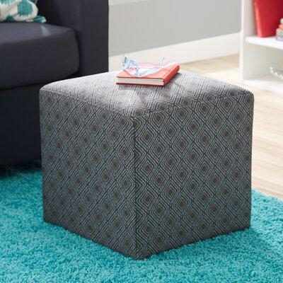 Jillian Cube Ottoman Upholstery: Teal / Warm Grey