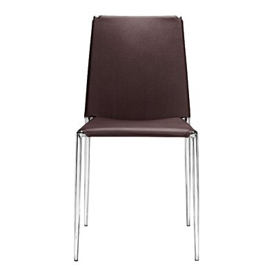 Zaria Dining Chair with Leatherette Seat Finish: Espresso