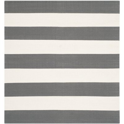 Skyler Hand-Woven Cotton Gray/Ivory Area Rug Rug Size: Square 8