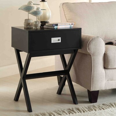Kathleen 1 Drawer End Table Finish: Black