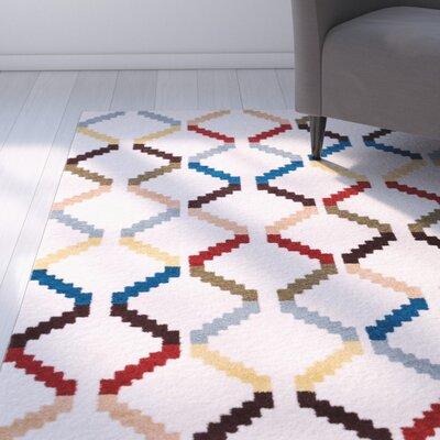 Burgess Moroccan Trellis White Modern Area Rug Rug Size: 33 x 47