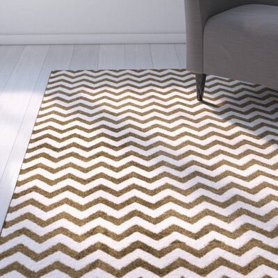 Burgess Chevron Green/White Area Rug Rug Size: Oval 27 x 42