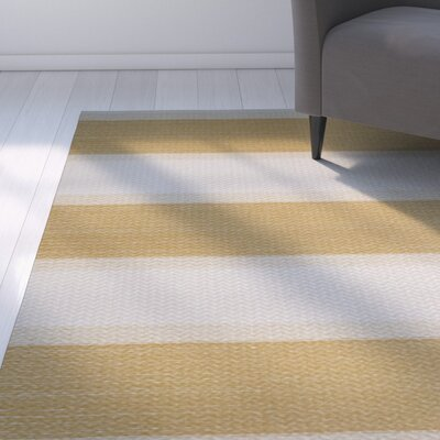 Addyson Stripe Print Gold Indoor/Outdoor Area Rug Rug Size: 3 x 5