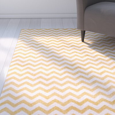 Burgess Chevron Gold/White Area Rug Rug Size: Oval 27 x 42