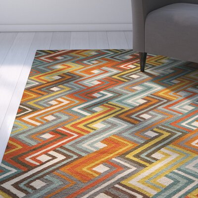 Dixmoor Hooked Blue/Orange Area Rug Rug Size: Rectangle 2 x 3