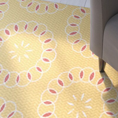 Alexis Floral Print Yellow/Coral Indoor/Outdoor Area Rug Rug Size: 5 x 7
