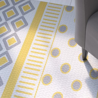 Abbie Yellow/Gray Indoor/Outdoor Area Rug Rug Size: 5 x 7
