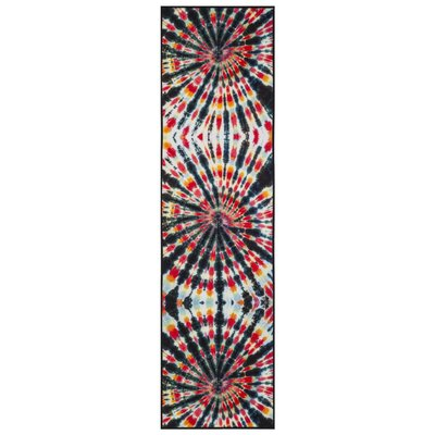 Dawson Paint Brush Black/Coral Area Rug Rug Size: Runner 23 x 8