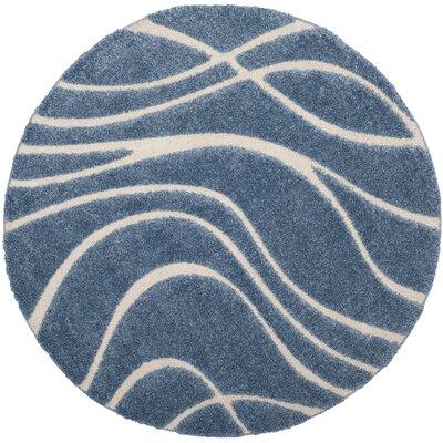Enrique Blue/Cream Area Rug Rug Size: Round 67