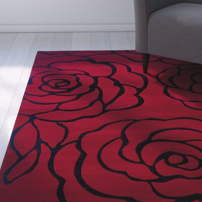 Carina Red/Black Area Rug Rug Size: Rectangle 5 x 77