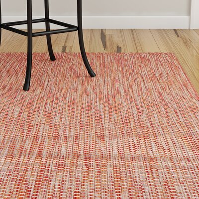 Mullen Solid Red / Beige Indoor/Outdoor Area Rug Rug Size: 67 x 96