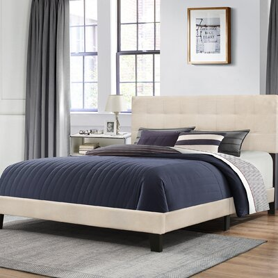 Decker Upholstered Panel Bed Size: Full, Color: Linen