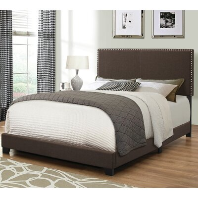 Amesbury Upholstered Panel Bed Size: Twin, Color: Brown