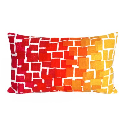 Palmira Ombre Tile Lumbar Pillow Color: Red